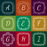 Set of monograms hand drawn style colorful with Royalty Free Stock Images
