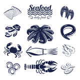 Set of monotone cartoon sea food elements - tuna, salmon, clams, crab, lobster and so forth. Royalty Free Stock Photo