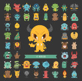 Set of monster characters poses Royalty Free Stock Photo