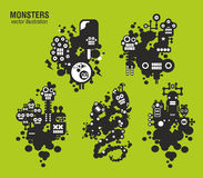 Set of monster illustrations Royalty Free Stock Photo
