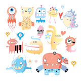 Set of monsters. Background with a set of amusing multi-colored monsters on white Royalty Free Stock Images