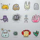 Set of monsters. At grey background vector illustration