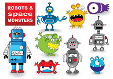 Set of Monsters and Robots Royalty Free Stock Photos