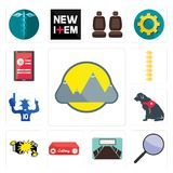 Set of montain, focus group, conference room, catering, car crash, service dog, sports fan, spine, login screen icons. Set Of 13 simple editable icons such as Royalty Free Stock Image