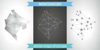 Montenegro collection of vector design modern maps, gray and black and silver dot contour mosaic 3d map. Set of Montenegro polygonal mosaic modern maps Royalty Free Stock Image