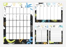 Set of month and weekly planner templates with colorful paint blots and traces on background, week starting from Sunday Stock Photography