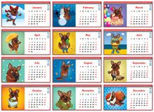 Set of monthly calendars for 2018. Active dogs. vector illustration Stock Photo