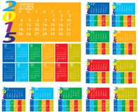 Set of Monthly Year 2015 Colorful Calendar. Set of vector of Monthly Year 2015 Colorful Calendar vector illustration