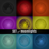 Set of moonlight. A cute colorful collection of moons, which can be used as graphical elements, backgrounds and as a supplement Stock Images