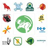 Set of moose, badminton, rhino, gluten free, black swan, 100 year anniversary, dragonfly, 70 years, icons. Set Of 13 simple  icons such as moose, badminton Royalty Free Stock Photo