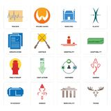 Set of moose, municipality, vr headset, shepherd, fire hydrant, hospitality, specification, municipal, tracker icons. Set Of 16 simple  icons such as moose Royalty Free Stock Images