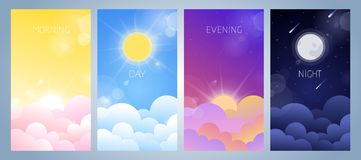 Set of morning, day, evening and night sky illustration. With sun, clouds, moon and stars, sunset and sunrise. Weather app screen, mobile interface design vector illustration