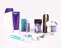 Set for morning hygiene. Toothpaste, brush, soap, balm, tooth th Royalty Free Stock Photos