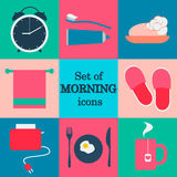 Set of morning icons.Flat vector design.Morning routine. Royalty Free Stock Photo