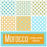 Set of 6 Morocco patterns background. Geometric seamless muslim. Ornament backdrop. Vector illustration of islamic texture in arabic style for Textile Design Royalty Free Stock Image