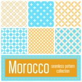 Set of 6 Morocco patterns background. Geometric seamless muslim. Ornament backdrop. Vector illustration of islamic texture in arabic style for Textile Design Royalty Free Stock Photography