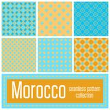Set of 6 Morocco patterns background. Geometric seamless muslim. Ornament backdrop. Vector illustration of islamic texture in arabic style for Textile Design Royalty Free Stock Photos