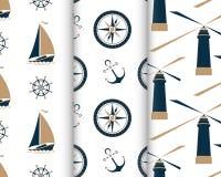 Set morscy bezszwowi wzory z statkiem, kotwica, nautyczny kompas, latarnia morska, kapitanu koło royalty ilustracja