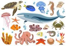 Set morscy i oceaniczni fauna mieszkanowie również zwrócić corel ilustracji wektora royalty ilustracja