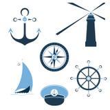 Set morscy przedmioty toczy, kapitan nakrętka, latarnia morska, sailfish, kompas, statek kotwica royalty ilustracja