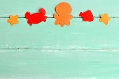 Set morscy zwierzęta Papierowi denni zwierzęta Ośmiornica, krab, seahorse, ryba Lata tło Obraz Stock