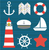 Set morza i plaży mieszkania ikony również zwrócić corel ilustracji wektora Zdjęcie Royalty Free