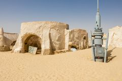 Set Mos Espa - many scenes in the Star War serieis were filmed at this location stock photos