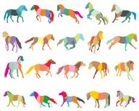 Set of mosaic colorful horses-3. Set of mosaic vector colorful trotting and galloping horses Norwegian fjord pony silhouettes isolated on white background Stock Images