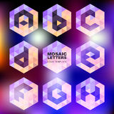 Set of mosaic letter icons. Geometric logo design template. Corp royalty free illustration