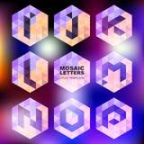 Set of mosaic letter icons. Geometric logo design template. Corp stock illustration