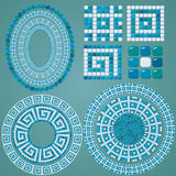 Set of Mosaic patterns - Blue ceramic oval. And round frames - classic geometric ornaments royalty free illustration