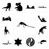 Set of mosquito, chameleon, yin yang, star david, paris skyline, t rex, doberman, statue liberty, minnesota icons. Set Of 13 simple editable icons such as Stock Images
