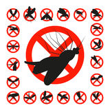 Set mosquito danger zone icon Stock Photography