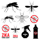 Set of mosquito icons. Zika virus alert. Anti mosquito. Mosquito emblems. Set of design elements in vector Stock Image