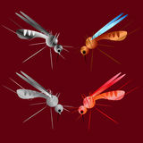 Set of mosquito silhouettes isolated on red background. Vector mosquito silhouettes. Aegypti flying mosquito. Zika virus Stock Image