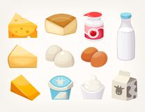 Set of most common dairy food products. Some kinds of cheese, milk packages and yogurts. Isolated vector illustrations royalty free illustration