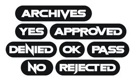 Set of most common stamp words, monochrome. Collection of office stamps Royalty Free Stock Images
