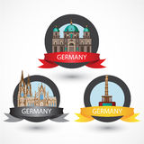 Set of most Famous German Landmarks. High detailed colorful style. Travel icon. Cologne Cathedral, The Protestant Berlin Cathedral and Berlin Victory Column Royalty Free Stock Images