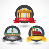 Set of most Famous German Landmarks. High detailed colorful style. Stock Photo