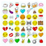 Popular emoticons icons. Set of most popular emoticons. Flat vector handdrawn emojis with simple colors. Isolated lineart icons Stock Photos