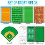 Set of most popular sample sport fields. Set of most popular sample sport fields in a simple outline. Flat design. Vector illustration Stock Image