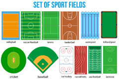 Set of most popular sample sport fields. Royalty Free Stock Photos