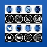 Set of most popular social media icons: Twitter, Instagram, Face. Book, Google Plus on pc screen stock illustration