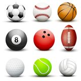 Set of most popular sport balls. Royalty Free Stock Photo