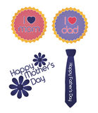 Set of mother/father's day signs. I love mom, I love dad, Happy Mother's Day, Happy Father's Day signs Stock Image