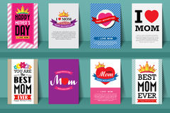 Set of MOther's day brochures in vintage style .Vector eps10 Royalty Free Stock Photos