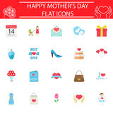 Set of mother`s day icons. Mother`s day flat pictograms package, Holiday symbols collection, Mom day vector sketches, logo illustrations, colorful solid icon set Stock Illustration