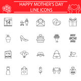 Set of mother`s day icons. Mother`s day line pictograms package, Holiday symbols collection, Mom day vector sketches, logo illustrations, linear icon set Stock Illustration