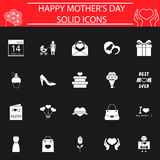 Set of mother`s day icons. Mother`s day solid pictograms package, Holiday symbols collection, Mom day vector sketches, logo illustrations, filled icon set Stock Illustration