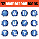Set of motherhood icons. Glossy button design. Vector illustration Stock Images